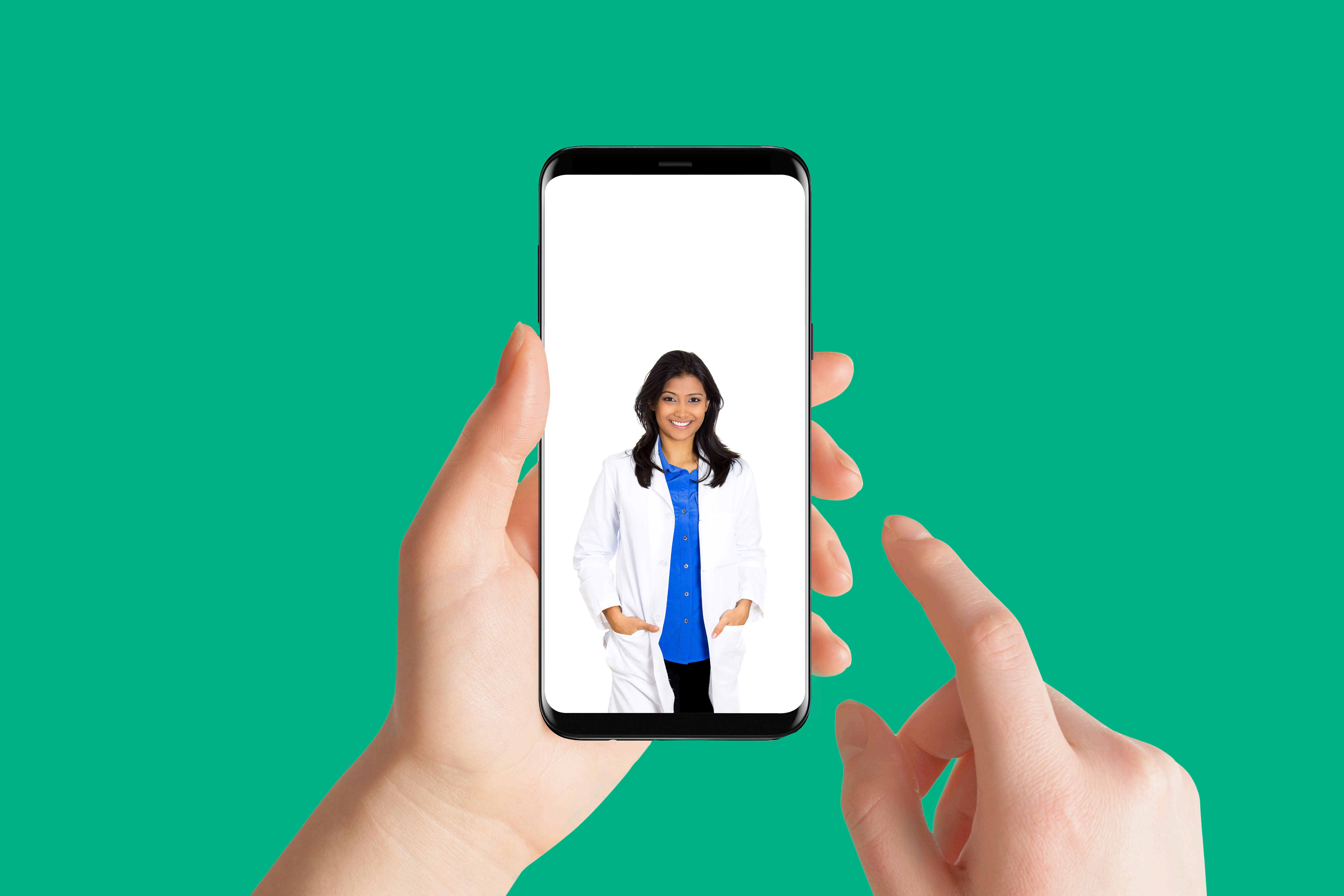 w doctor phone for telemed on green background
